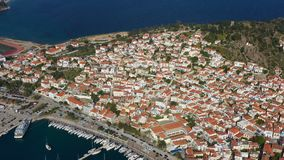 Poros Greece. boats and yachts in port. Sunny afternoon. Aerial video footage stock video footage