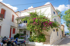 Poros, Greece - September 27: Traditional old house on September. 27, 2014 in the island of Poros, Greece. Beautiful traditional old house in Poros island in Royalty Free Stock Photography