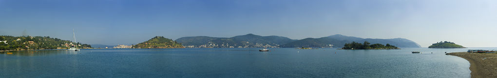 Poros Island. Panoramic view of the bay of Poros Island, Greece Stock Photos