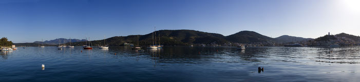 Poros Island. Panoramic view of the bay of Poros Island, Greece Stock Photo