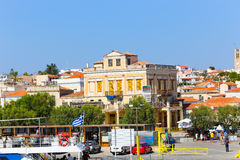 Poros Island , Greece. Aug. 15, 2014 people and Tourists Stroll at port of Poros Island - Greece Stock Photo
