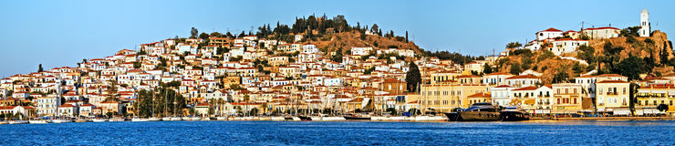 Poros Island, Greece, harbour, paview from the sea. Poros Island, Saronic gulf, Greece, harbour, view from the sea Stock Images