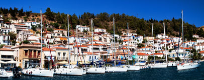 Poros Island, Greece, yacht marina. Poros Island, Saronic gulf, Greece, harbour, view from the sea Stock Image