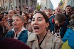 Poroshenko возблагодарило украинцев которые пришли возблагодарить его и поддержать его стоковая фотография