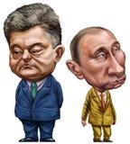 Poroshenko et Poutine Photos stock