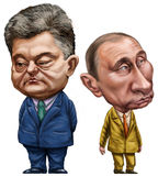 Poroshenko and Putin Stock Photos