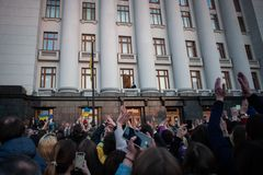 Poroshenko  thanked Ukrainians who came to thank him and support him. April 22, 2019. Kyiv, Ukraine President of Ukraine Petro Poroshenko came to the square in stock photo