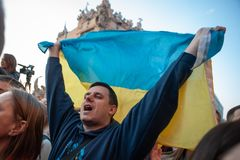 Poroshenko  thanked Ukrainians who came to thank him and support him. April 22, 2019. Kyiv, Ukraine President of Ukraine Petro Poroshenko came to the square in royalty free stock photos