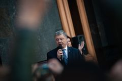Poroshenko  thanked Ukrainians who came to thank him and support him. April 22, 2019. Kyiv, Ukraine President of Ukraine Petro Poroshenko came to the square in stock image