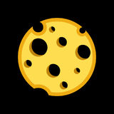 Porous Cheese Round form with Holes. Yellow Vector Icon Illustration isolated on black like The Moon in Space Royalty Free Stock Image
