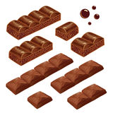 Porous and milk chocolate pieces. vector isolated. Stock Photo