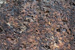 Porous volcanic rock wall, old stone background Royalty Free Stock Photo