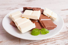 Porous white chocolate and milk chocolate Royalty Free Stock Image