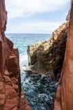 Porphyry Arbatax κόκκινο sardegna Σαρδηνία Ιταλία Ευρώπη Capo Bellavista λιμένων βράχων κοντινό Στοκ φωτογραφίες με δικαίωμα ελεύθερης χρήσης