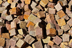 Porphyry cubes. Texture industry Trentino Stock Images