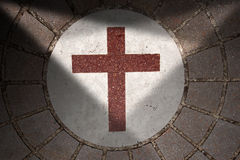 Porphyry Stone Floor with Marble Cross Stock Photos