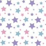 Porpora blu di rosa variopinto pastello della stella sul picchiettio bianco del fondo royalty illustrazione gratis