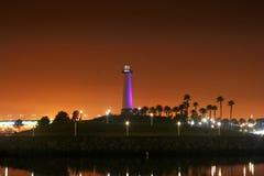 Porpora del faro di Long Beach Fotografia Stock