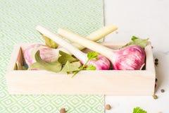 Porpora dell'aglio con prezzemolo in scatola di legno su un fondo di pietra bianco Fotografie Stock Libere da Diritti