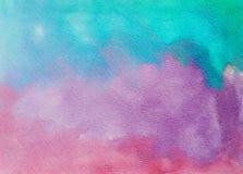 Porpora di struttura astratta dipinta a mano dell'acquerello e rosa blu Immagini Stock