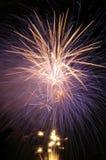 Porpora e fuoco d'artificio del champagne. fotografia stock