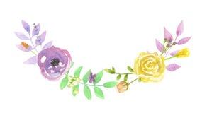 Porpora Garland Spring Summer della corona della foglia dell'arco del fiore dell'acquerello Fotografia Stock Libera da Diritti