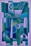 Porpora geometrica di arte di Digital, blu del greensand illustrazione di stock