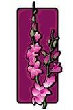 Porpora lunga di clipart delle orchidee Fotografia Stock