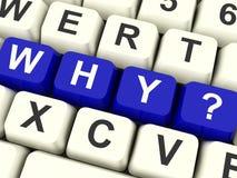 Porqué llaves de ordenador que hacen una pregunta o que tienen confusión Foto de archivo libre de regalías