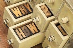 Porqué y cómo preguntas Foto de archivo libre de regalías