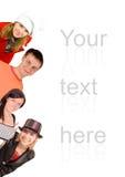 Porque seja nós que sorrimos datilografamos dentro sua versão Imagens de Stock