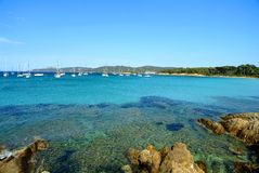 Porquerolles island. The transparent water of the island in the south of France Stock Photo
