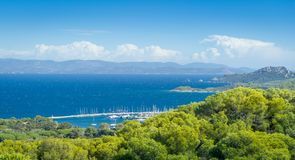 Porquerolles pipular touristic island at Provence Cote d`Azur stock image