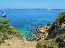 Porquerolleseiland, Hyeres, Frankrijk stock foto's