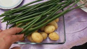 Porrees und gekochte Kartoffeln stock video