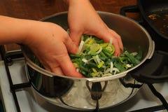 Porri del cuoco in una casseruola Immagini Stock