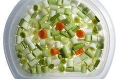 Porri e carote tagliati Fotografie Stock