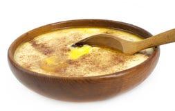 Porridge. Traditional Norwegian sour cream porridge served in an vintage bowl Stock Images