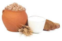 Porridge And Milk Stock Photos