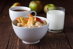 Porridge with apple. Healthy breakfast oatmeal with apples and cinnamon Stock Photos