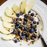 Porridge with blueberries and seeds Stock Image