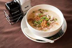Porridge or boil rice. With soup is Asian style meal, most often eaten for breakfast stock photo