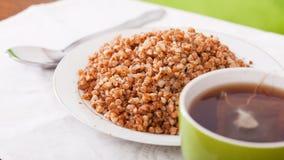 Porridge bollito del grano saraceno Fotografie Stock Libere da Diritti