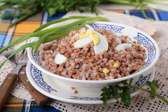 Porridge of buckwheat with boiled eggs Royalty Free Stock Images