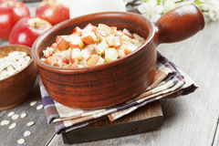 Porridge with caramelized apples Royalty Free Stock Photography