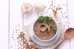 Porridge with champignons. Porridge with mushrooms in a ceramic bowl, fresh onions and sour cream on wooden white background Stock Photography