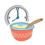 Porridge and Clock Royalty Free Stock Photography