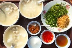 Porridge con la minestra di riso con carne di maiale Immagini Stock Libere da Diritti