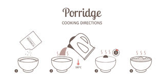 Porridge cooking directions. Steps how to prepare porridge. Vector illustration Royalty Free Stock Images