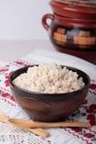 Porridge of crushed barley with milk Stock Photography